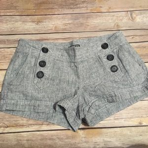 Express Gray Linen Blend Button Shorts